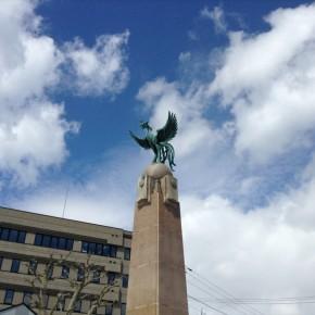 "梁川剛一 / 明治天皇上陸記念碑 ""Monument of Emperor Meiji's Landing"""