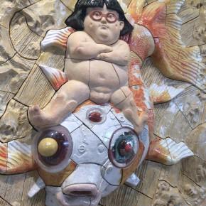 """大友克洋 / 金華童子風神雷神ヲ従エテ波濤ヲ越ユルノ図 """"Kinka Doji Riding the Waves Accompanied by Fujin and Raijin"""""""